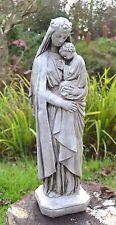 Madonna and child white aged religious statue stone home garden ornament 51cm/20