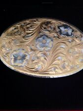 Comstock German Silversmiths Etched Flower Design Belt Buckle,  3 By 2 1/4