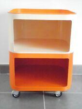 Kartell Anna Castelli modular mobile storage cart orange and beige