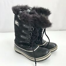 Sorel Women Black Calf Length Winter Boots Faux Fur Cuff Shiny Quilted Size 7