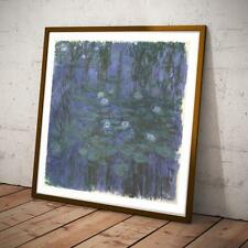 CLAUDE MONET FRENCH IMPRESSIONIST BLUE WATER LILIES 18X18 INCHES ART PRINT SQ
