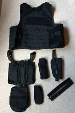 More details for black body armour cover molle vest and pouches sf police airsoft