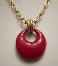 Tone Chain Pendant Necklace Signed Trifari Red Enamel Gold