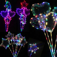 LED Lights Clear Bubble Heart Star Balloons Glow Wedding Birthday Party Decor