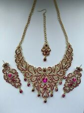 Indian Bollywood Gold Pink Crystal Jewellery set Necklace, Earring and Tikka