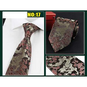 Men High Grade Floral Dragon Silk Necktie Wedding Party Wide Tie Chinese Style