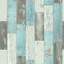 Faro Teal and Brown Painted Wood Panel Wallpaper Wooden Planks Washable 96246-1