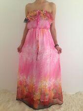 Women's Pink Boho Strapless Ruffle Casual Evening Party Maxi Dress Size 8-10-12