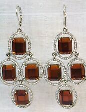 CEZANNE Gold Tone Orange Faceted / Clear Pave' Halo Chandelier Earrings NWT