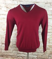 Joseph Turner Mens Cotton & Cashmere Mix Crew Neck Sweater Red Sz Large / L