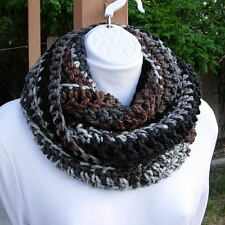 INFINITY SCARF LOOP Gray Grey Black Brown Long Narrow Crochet Knit Circle Cowl