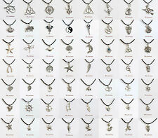 "Tibetan Silver Charm Pendants 13"" Real Black Leather Choker Necklace__Free P&P"