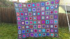 Graphite and multi coloured Granny Squares Crochet blanket