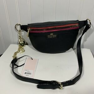 NWT Juicy Couture Fanny Pack Charm School Belt Black Bag Pack Purse NEW