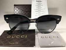 New Authentic Gucci Sunglasses Black Gray Horn Semi Rimmed Lens Square GG4278
