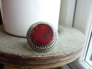 BEAUTIFUL LARGE POST MEDIEVAL ISLAMIC OTTOMAN SILVER SEAL RING WITH RED STONE