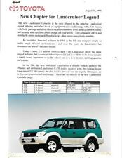 TOYOTA LANDCRUISER  PRESS PHOTO & PRESS RELEASE 'Brochure Related' AUGUST 1996