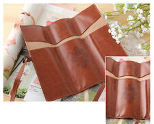 Vintage Retro Roll Leather Make Up Cosmetic Pencil Case Pouch Purse Bag Box
