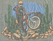 BIKER IN THE DESERT vintage 70s iron on t shirt transfer NOS full size