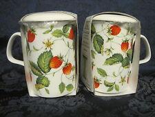 2 Alpine Strawberry Infuser mugs, Fine Bone China MadeEngland Roy Kirkham 10oz