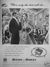 PUBLICITÉ 1958 CIGARETTE BENSON & HEDGES - OLD BOND STREET LONDON