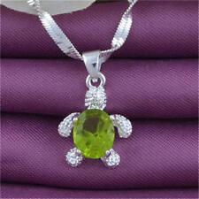 Women Fashion Jewelry 925 Silver Chain Zircon Retro Turtle Pendant Necklace