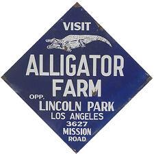 """VISIT ALLIGATOR FARM"" LINCOLN PARK LOS ANGELES METAL SIGN"