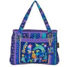 Mythical Dogs Laurel Burch Medium Canvas Purse Tote Bag Handbag Purple Blue