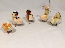 5 Vtg Chenille Pom Pom Pipe Cleaner Easter Thanksgiving Chicks Turkey Duck Decor