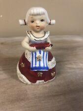 Napco Girl Angel JULY Figurine Bell Holding Flag S984