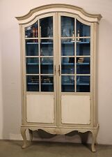 Antique French provincial bookcase carved rococo Armoire hand painted cabinet