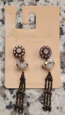NWT, Liz Palacios Dangle Earrings Swarovski Crystal Elements Antique Brass Color