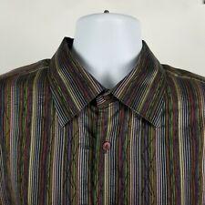 Jhane Barnes Mens Multi Color Striped Dress Button Shirt Sz XL Silk Blend