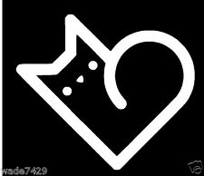 I love my cat white car window vinyl sticker decal Heart Cute Funny 4""
