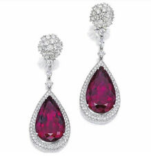 9Ct Pear Simulant Ruby Diamond Halo Dangle Drop Earrings Silver White Gold Finsh