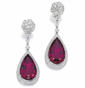 9Ct Pear Cut Ruby Simulant Diamond Chandelier Earrings White Gold Finish Silver