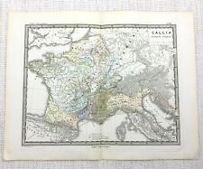 1865 Antique Map of France Gaul Gallia Ancient Roman Empire LATIN Engraving
