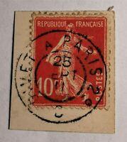 """MARCOPHILIE """"TYPE SEMEUSE N° 138 s/ Fragment (TB-1111-3),OBLIT Cad Givet à Paris"""