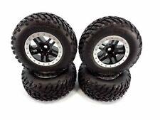 4- 1/10 Traxxas Slash 2wd Spec Tires & 12mm Black Split Spoke Wheels /Fit Raptor