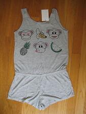 NEW H&M one piece gray ROMPER pink black monkey t shirt shorts jumpsuit Sz 9 10