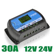 30A PWM Solar Panel Controller Battery Charge Regulator LCD 12V/24V Auto USB