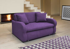 NEW 2 Seater Sofa Bed with Storage PURPLE soft Fabric, Modern Design