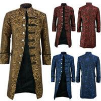 Men Frock Coat Steampunk Retro Tailcoat Jacket Gothic Vintage Cosplay Uniform