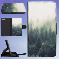 NATURE FOREST TREES FOG FLIP WALLET CASE FOR APPLE IPHONE PHONES