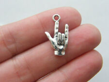 I Love You Sign Language Charm Antiqued Silver Love Hand Charm 10 pieces