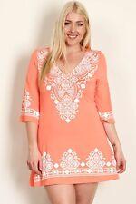 Evoke Peach And White Midi Dress Plus Sizes 14/XL to 18/XXXL CURVED BY NATURE