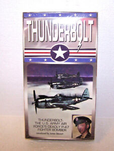 THUNDERBOLT P-47 VHS VIDEO TAPE US ARMY AIRFORCE FIGHTER BOMBER JAMES STEWART
