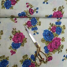 "100% Cotton Indian Print CREAM Floral Soft Summer Craft Dress Fabric 44"""