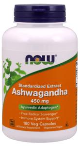 Now Foods Ashwagandha 450 mg 180 Veg Standardized Extract Free Radical Scavenger