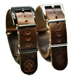 Leather Strap, Military Watch Band fits Omega, Handmade 18/20/22/24 mm. Gift